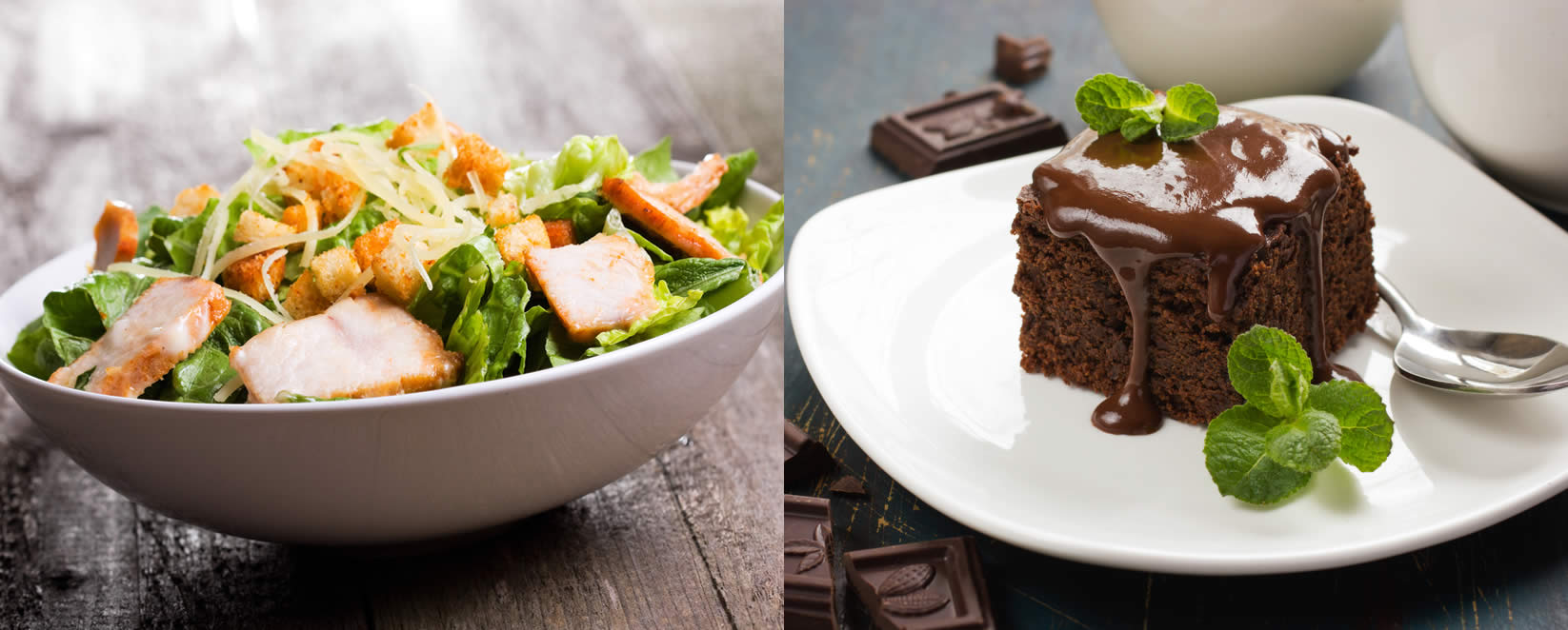 chicken caesar salad & homemade chocolate brownie
