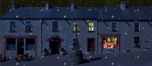 Langs Bar & Restaurant nighttime shot in snow